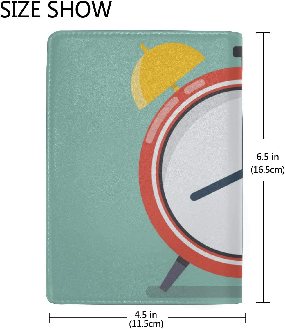 Alarm Clock Wake-up Time Blocking Print Passport Holder Cover Case Travel Luggage Passport Wallet Card Holder Made With Leather For Men Women Kids Family