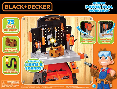 61p9XMGOmwL - BLACK+DECKER Junior Power Workbench Workshop with Realistic Action Lights & Sounds - 75 Tools & Accessories [Amazon Exclusive]