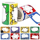 JPSOR 500Pcs Superhero Name Label Stickers Name Tags for School Office Home (2 Rolls, 8 Designs)