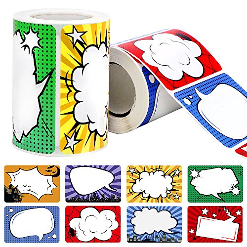JPSOR 500Pcs Superhero Name Label Stickers Name Tags for School Office Home (2 Rolls, 8 Designs) by JPSOR