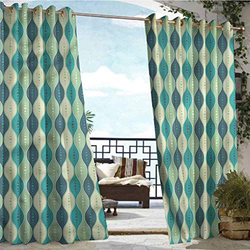 crabee Indoor/Outdoor Single Panel Print Window Curtain Abstract,Oval Curved Lines Dots,W84 xL96 Outdoor Curtain for Patio,Outdoor Patio Curtains