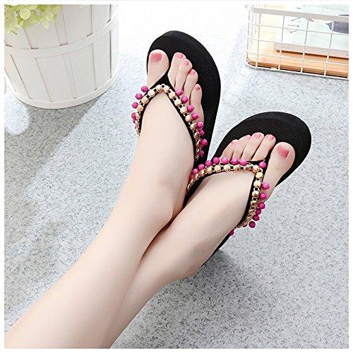 las gruesas Color dedo antideslizante de zapatos cuentas zapatillas grueso del del de de FEIFEI playa romanos zapato del con pie cómodo de del 7CM dedo mujeres Sandalias verano pie C C Bohemia qgwRC6aE