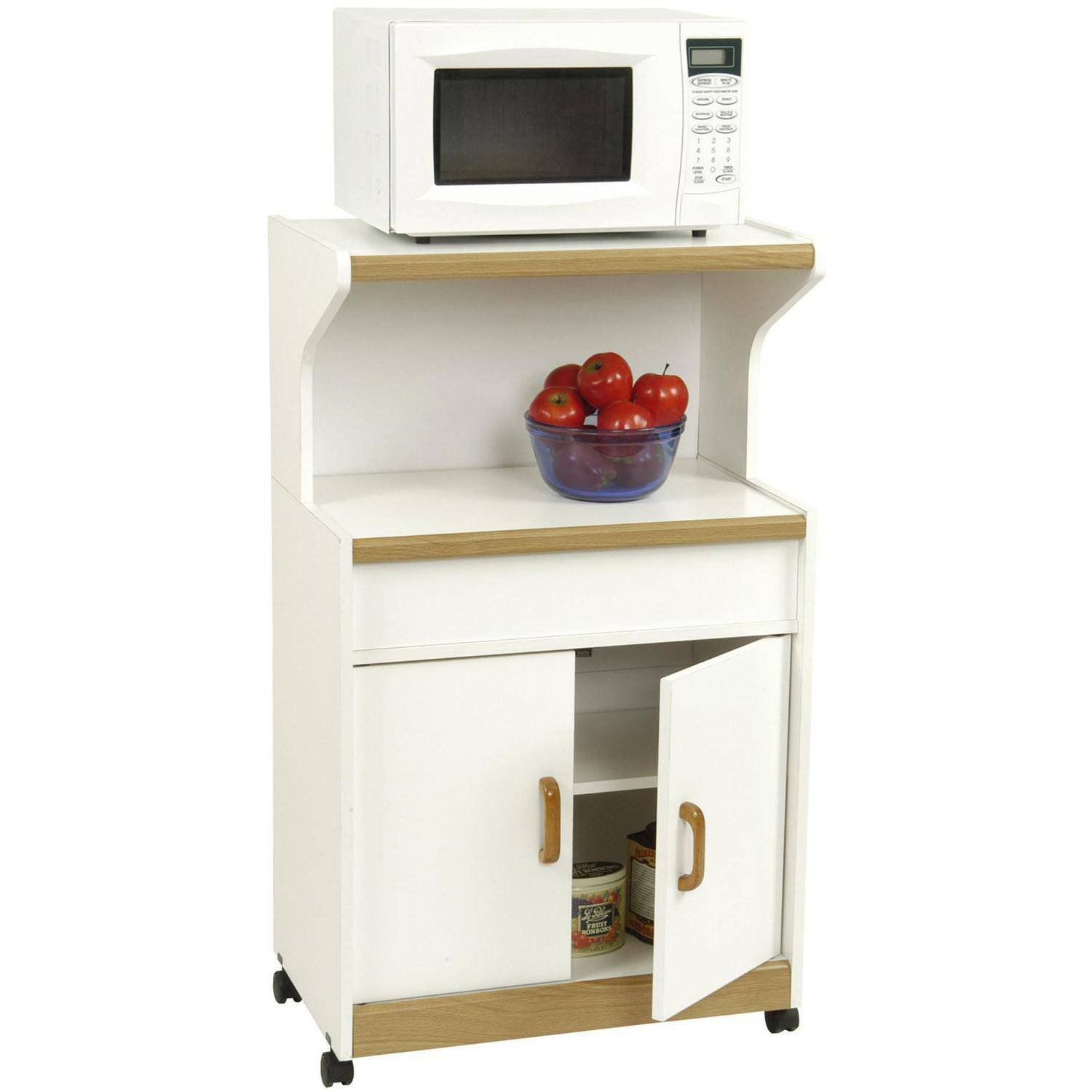 Solid Wood Microwave Cabinet With Shelves (White)