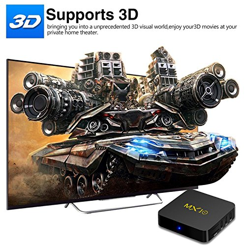 Android TV Box - SCS ETC MX10 Android 8.1 TV Box 4GB + 32GB with Rockchip RK3328 Quad-Core 64 Bits Support 2.4G WiFi 100M LAN 3D 4K HDR Set-Top TV Box