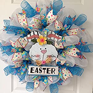 Adorable White Bunny with Easter Sign Deco Mesh Wreath 1