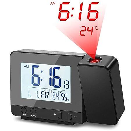 Deofde Despertador Proyector, Reloj Despertador Digital con Pantalla LCD Grande, Reloj Proyección Digital con Alarmas Dobles, Reloj Mesita de Noche, ...