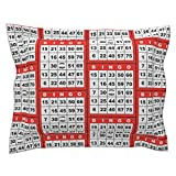Roostery Bingo Euro Flanged Pillow Sham Bingo Red 1On by Dd BAZ Natural Cotton Sateen Made
