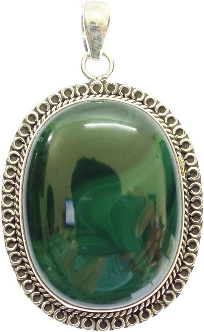Colgante DE Collar DE Plata 925 para Mujer Verde MALAQUITA CURACIÓN Piedras Preciosas Colgante AUTÉNTICO DISEÑADOR DE Moda Boho ÉTNICO Fina Genuina JOYERÍA Hecha A Mano ÚNICA TIBETANA Amuleto