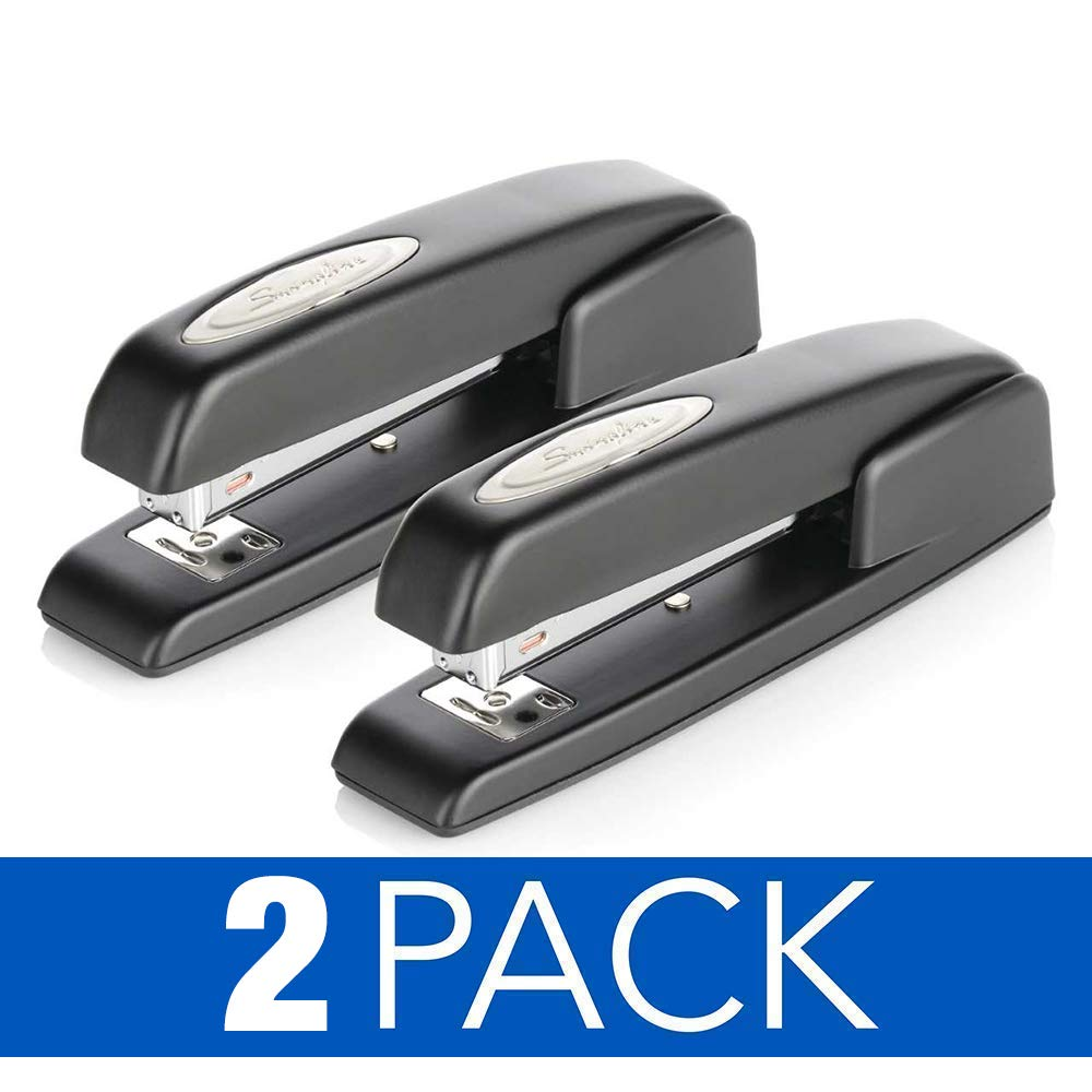 Swingline Stapler, 747 Iconic Desktop Stapler 20 Sheet Capacity, Antimicrobial, Black, 2 Pack (S7074741AZ)