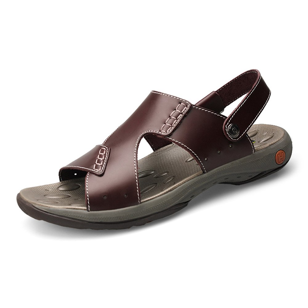 Zapatillas de Hombre de Cuero de Vaca Genuino Zapatillas de Playa Sandalias Casuales Zapatillas Planas de Suave Antideslizante sin Respaldo Ajustable 43 EU|Marrón
