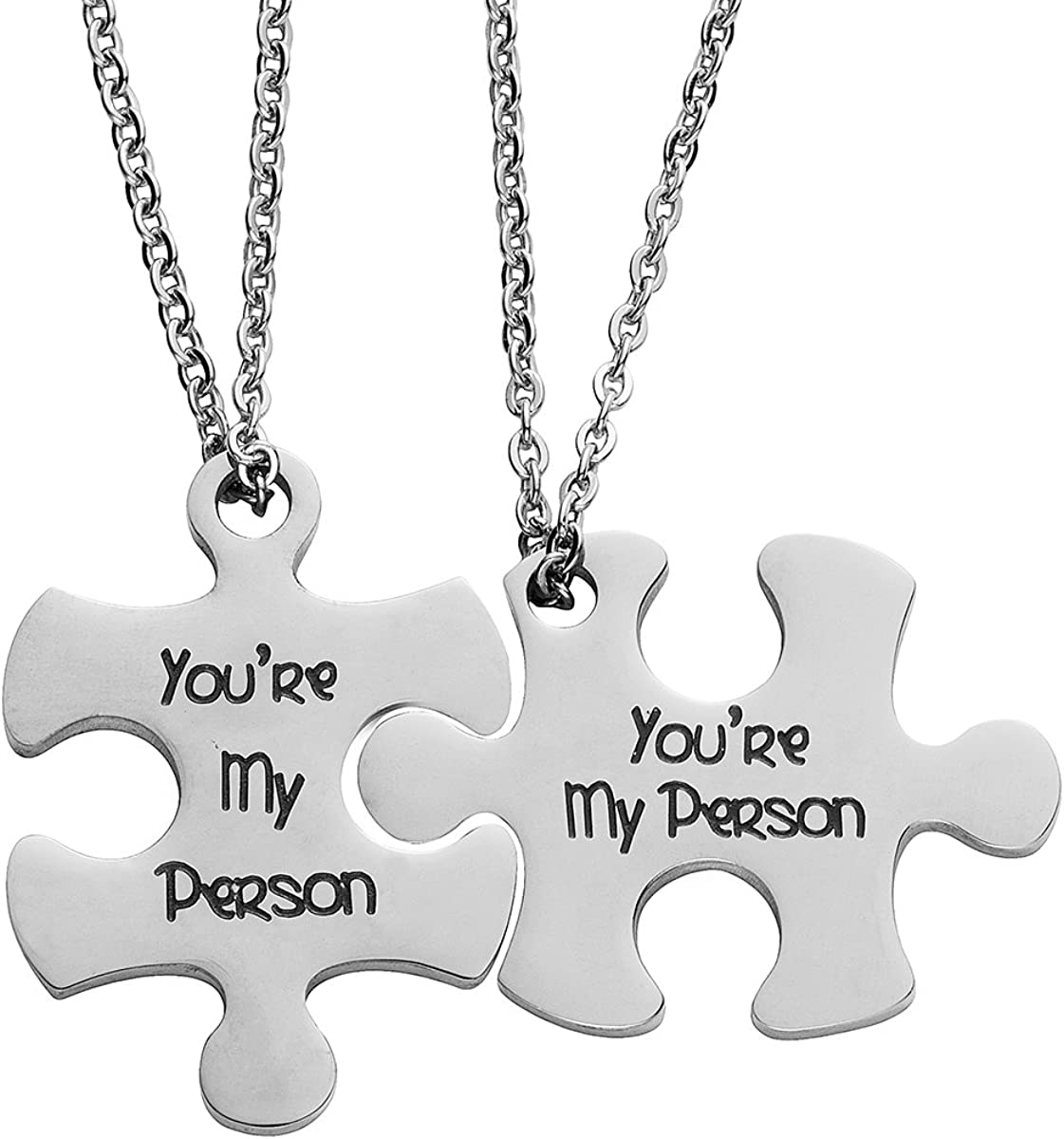 omodofo Valentine's Day His and Hers Puzzle Piece Pendant Necklace KeyChain Set Personalized Couples Stamped Chain Keyring