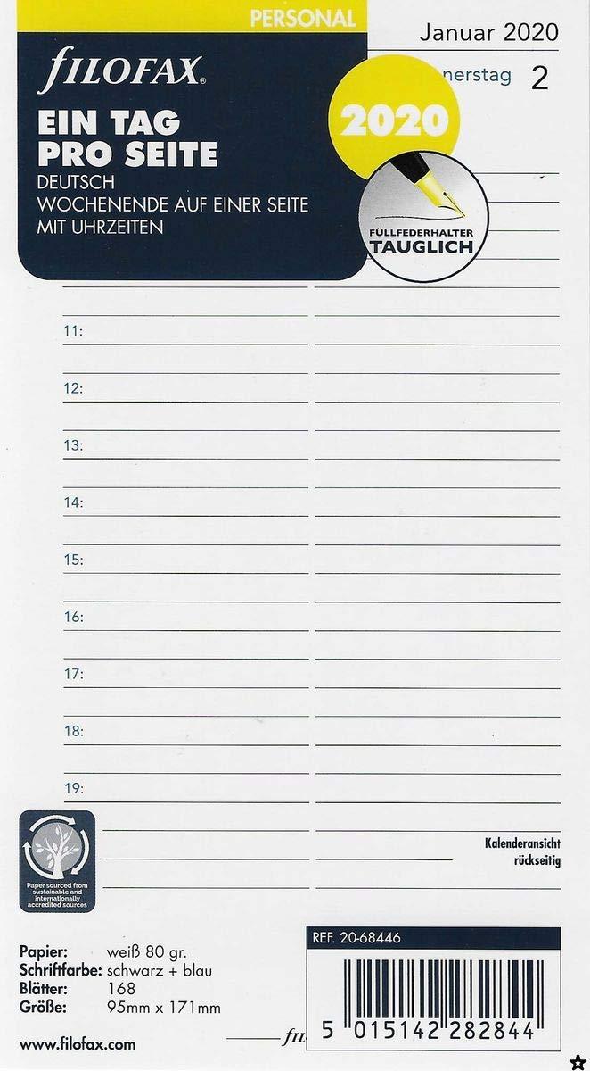 filofax Kalender Einlage Personal 2019 ein Tag pro Seite  95 x 171 mm 68446