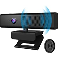 Full HD 1080P Webcam Computer Camera with 4 Built-in Omnidirectional Microphones and Speaker for Video Conference…