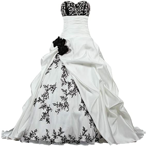 Womens Flowers Embroidery Wedding Dresses Satin Bridal Gown At