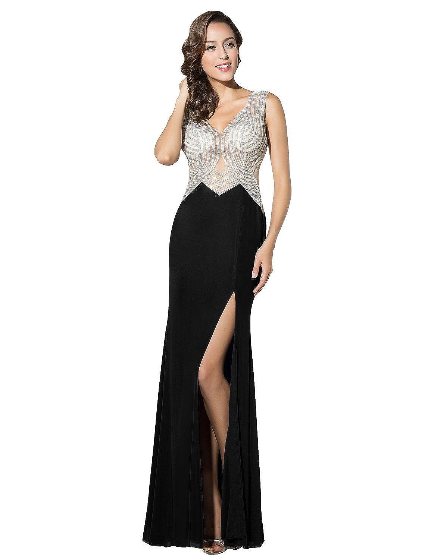 Sarahbridal V Neck Evening Prom Dresses with Beading Party Ball Gowns Side Slit Dress for Women SLX326: Amazon.co.uk: Clothing