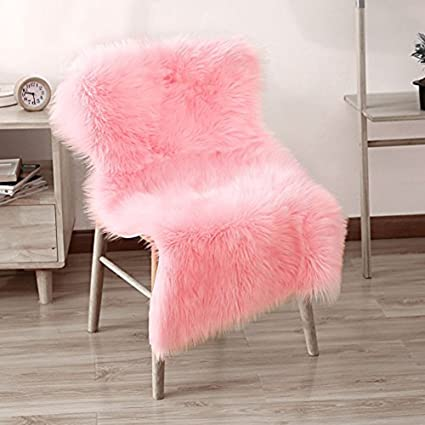LEEVAN Supersoft Fluffy Chair Cover Sheepskin Rug Seat Shaggy Silky  Throw Floor Mat Carpet Accent Fur Chair Throw22