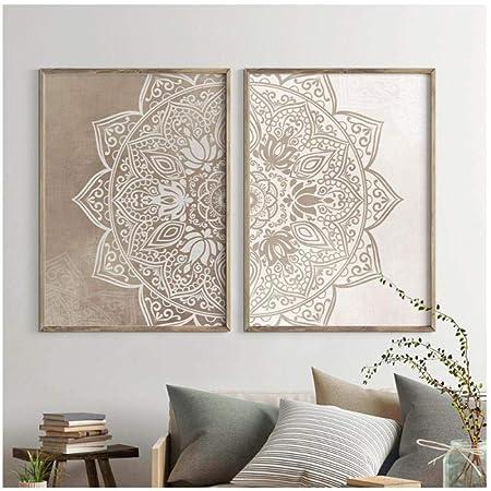 Dayanzai Mandala - Lienzo decorativo para pared, colores neutros, pósteres de yoga e impresiones de Zen para sala de estar, decoración del hogar, 50 x ...