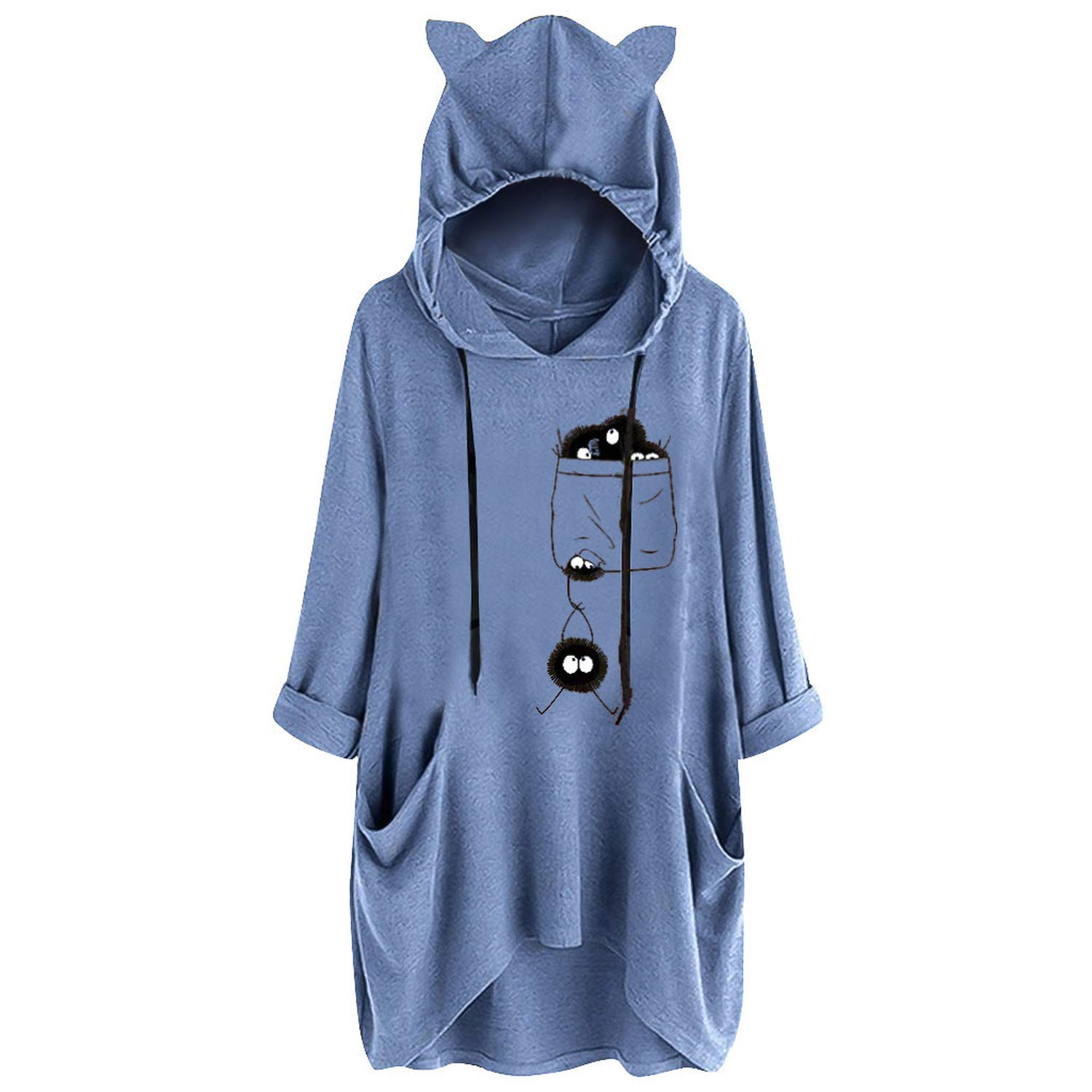 xiaoxiaoland Cat Ears Print Women Blouse Tops Hoodies Autumn Pullover Sweatshirt with Pockets Hoody Outwear Coats