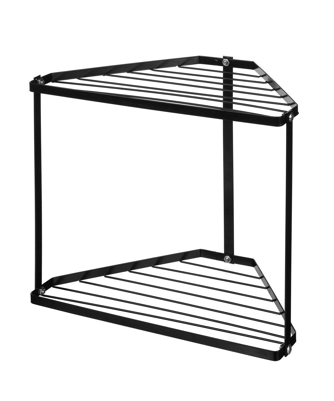 NEUN WELTEN 2 Tier Corner Storage Shelf Free Standing Kitchen Counter Organizer 12.8'' x 8.8'' x 11.8'' (Black)