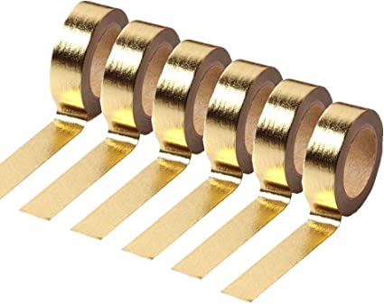 Washi tape metallic color gold self-adhesive paper 3 meters long set of 10 rolls silver adhesive tape