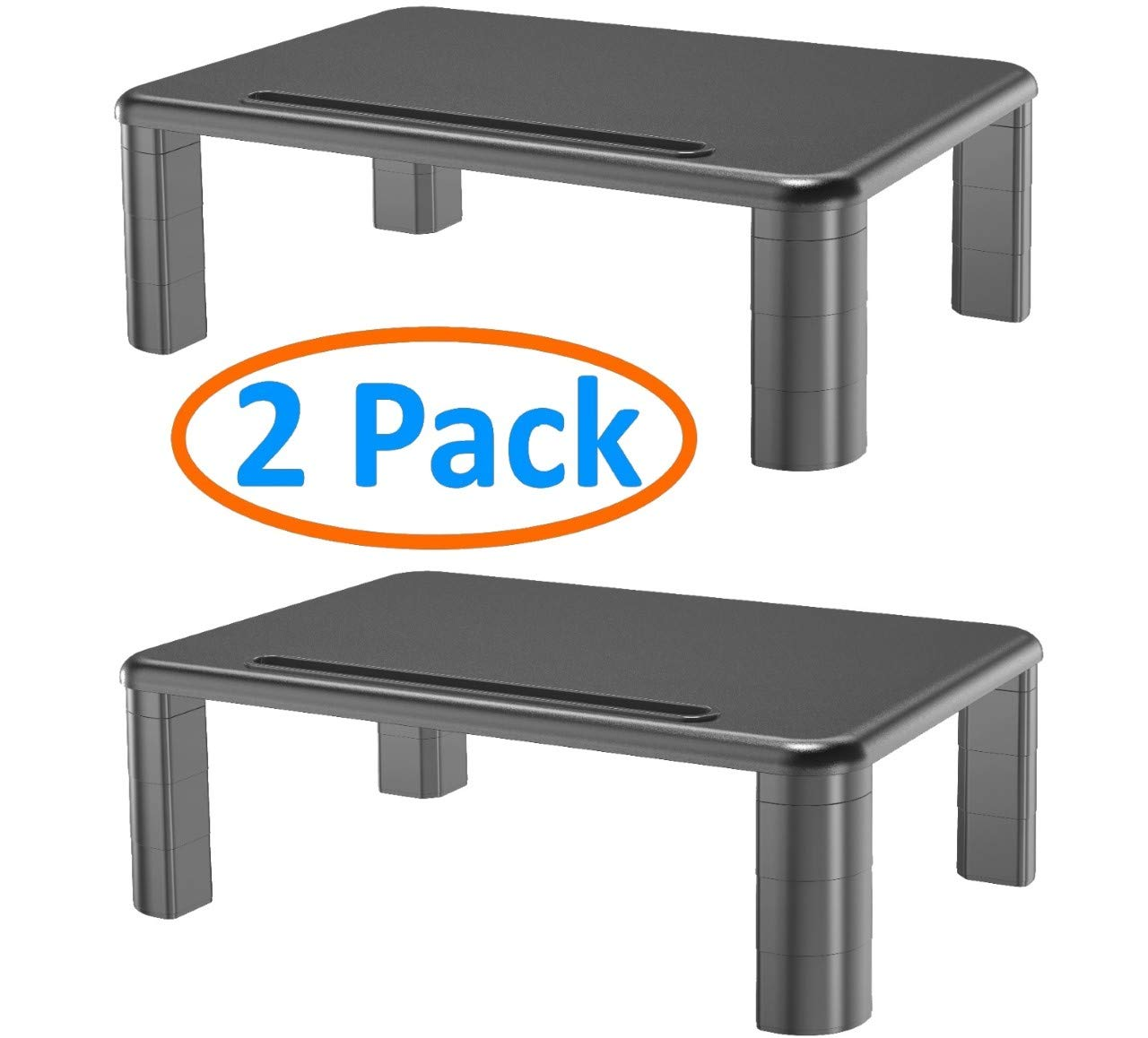 2-Pack Adjustable Monitor Stand with Storage Organization. Sturdy, Durable, No-Vibration Support. Convenient Slots for Tablet or Phone & Cables. Perfect Riser for Laptop, Printer. Stylish Black
