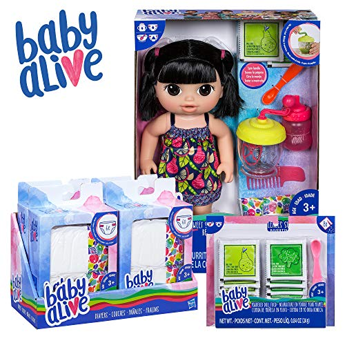 Baby Alive Sweet Spoonfuls Baby Black Straight Hair Doll, Bundle Exclusive, Doll Food and Diaper Refill, Toy for Kids 3 Years Old and Up