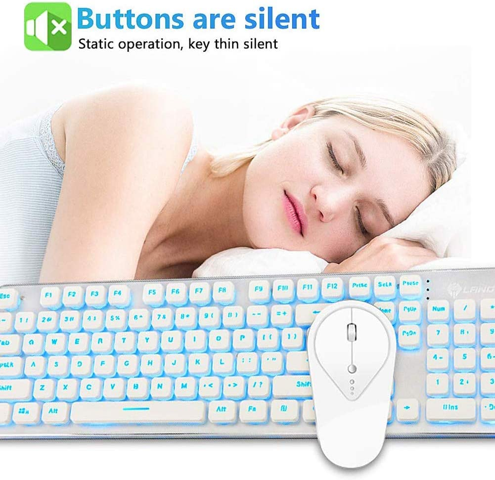 YCKZZR Wireless Keyboard Mouse Combo Wireless Rechargeable 2.4Ghz White//Blue Backlit and Wireless Soundless Mouse Aluminum 3D Non-Slip Roller for Laptop PC Mac Computer