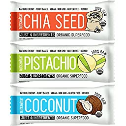Nutrawbar Organic Superfood, 3 Flavor Variety (Chia Seed, Pistachio, Coconut), Pack of 15 (3 x 5)