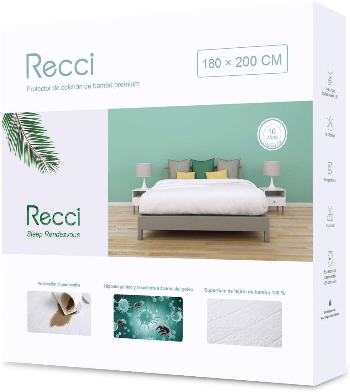 RECCI Cubre Colchón 180x200 - Funda de Colchón 180x200, 100% Bambú Protector de Colchón, Ultra Suave, Transpirable, Anti-Ácaros, Antibacteriano, Silencioso [ 180x200 cm ]