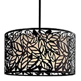 Drum Chandelier Lighting Suitable For High And Low Ceiling Rooms. 16″ Round Hanging Lamp Provides Warm Multidirectional Lighting. Versatile Circular Black Metal Pendant Light Fixture With Leaf Accents