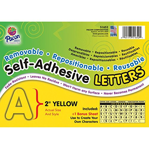 Pacon PAC51652BN Self-Adhesive Letters, Yellow, Puffy Font, 2