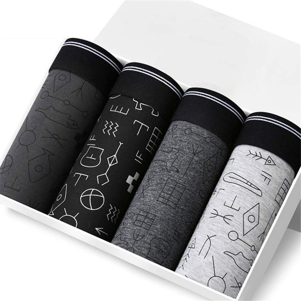 HERW 4pcs//lot Underwear Men Brand Print Cotton Boxers Man Breathable Mens Underpants