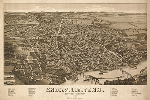 (Knoxville, Tennesseee - (1886) - Panoramic Map (12x18 Art Print, Wall Decor Travel Poster))