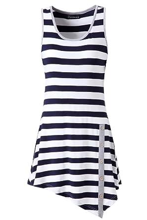 Zattcas Womens Striped Sleeveless Tunic Tank Top Loose T-shirt ...