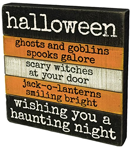 Halloween WISHING HAUNTING NIGHT SIGN Wood Ghosts Goblins Jack-O-Lantern 35809 ()