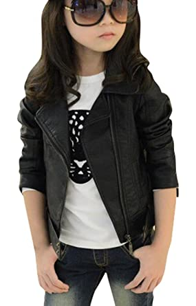 c045b0364a0f Amazon.com  Baby Girl s Motorcycle Jackets Spring Autumn PU Leather ...