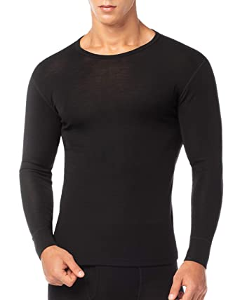 93e1f59a2f1b9e LAPASA Men's 100% Merino Wool Thermal Underwear Top Crew Neck Base Layer  Long Sleeve Undershirt