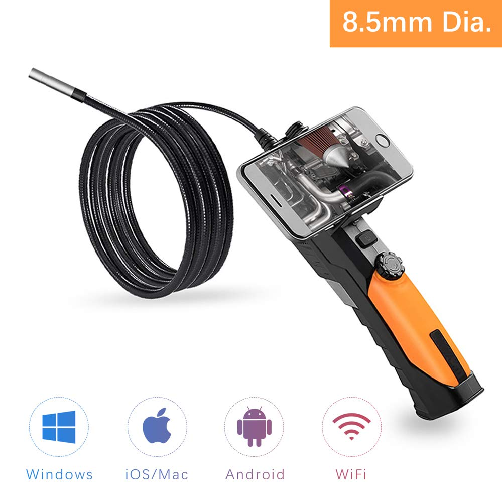 Anykit Wireless Endoscope Camera, WiFi Inspection Camera with Phone Holder 2.0 Megapixel HD Endoscope, 6 LED Lights And 3 m Semi-rigid Waterproof Borescope for PC, iPhone & Android device