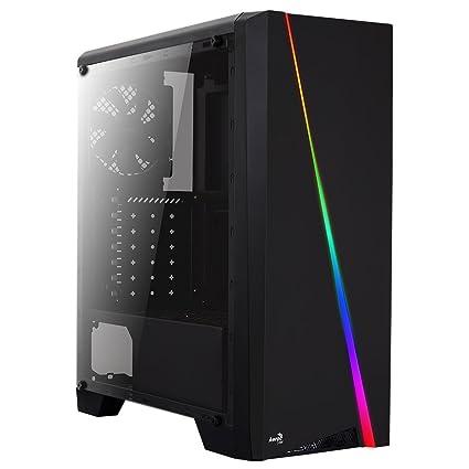Aerocool CYLON - Caja de ordenador para PC (semitorre, ATX, panel lateral acrílico, LED RGB en panel frontal, 13 modos de iluminación, incluye ...