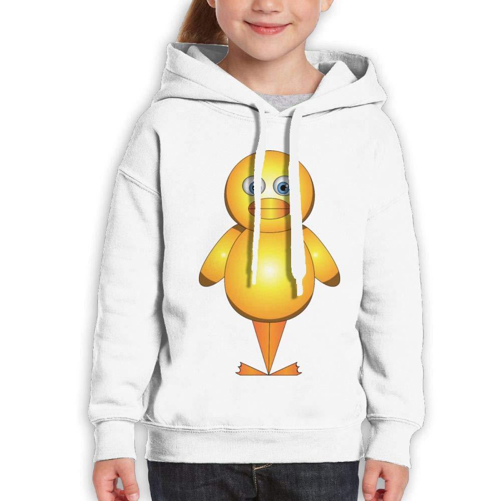 Qiop Nee Comical Cartoon Yellow Duck Youth Hoodies Print Long Sleeve Sweatshirt Girl's