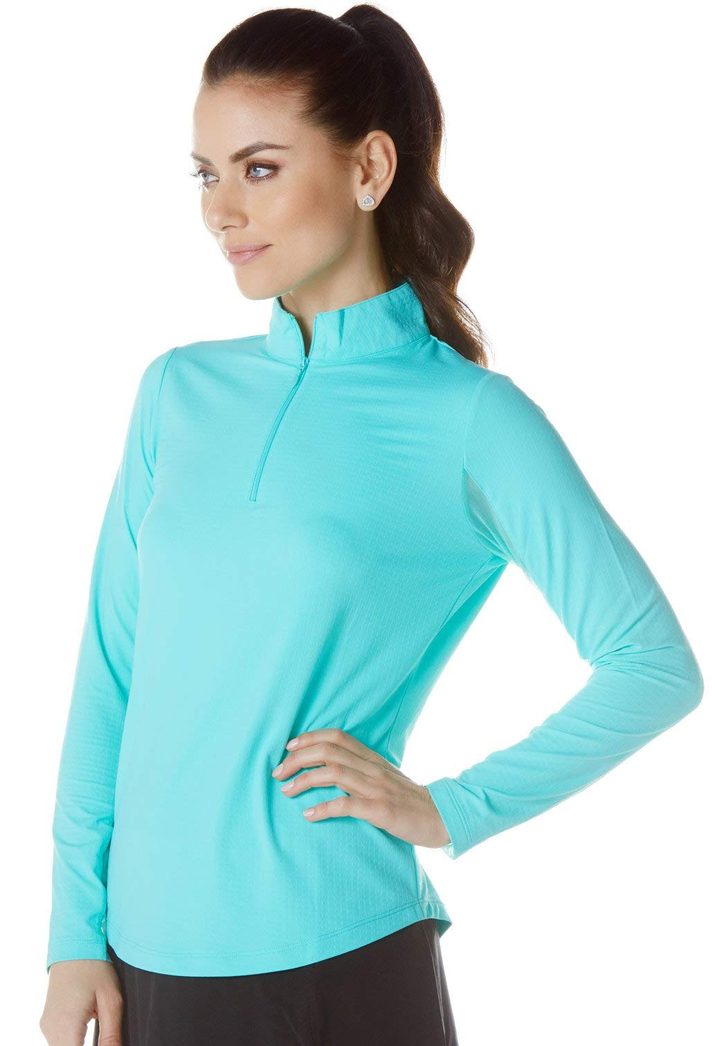 Solid Mock Neck Top - 80000 (M, Seafoam) by IBKUL