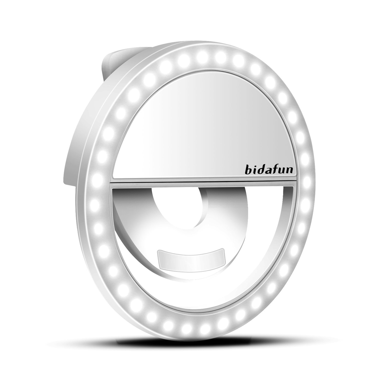 bidafunクリップon自撮りLED Oリングライトforスマート電話カメラ S DSL-R-201611231600-BA B01MSPTZ4C Rechargeable Rechargeable
