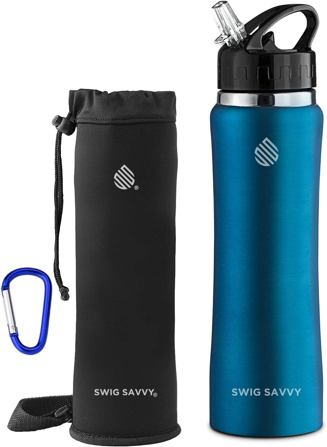SWIG SAVVY Stainless Steel Water Bottle with Straw Lid | BPA-Free Vacuum Insulated Double Walls Wide Mouth Design | Reusable Sports Drinking Container with Carrying Sleeve Pouch (Light Blue 24 oz)