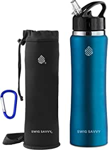 SWIG SAVVY Stainless Steel Water Bottle with Straw Lid | BPA-Free Vacuum Insulated Double Walls Wide Mouth Design | Reusable Sports Drinking Container with Carrying Sleeve Pouch (Light Blue 32 oz)