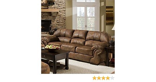 Amazon.com: Simmons Upholstery 6270 Pinto Tobacco Sofa ...