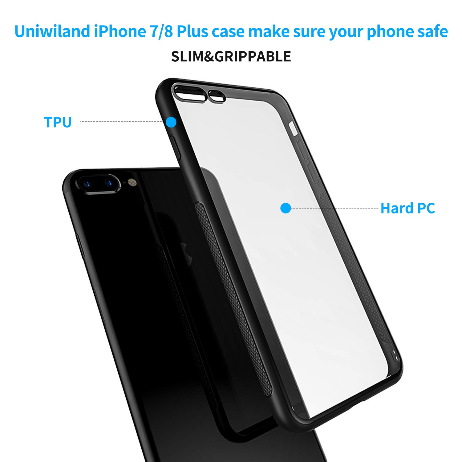 Uniwiland Iphone 7 Plus Case 8 Clear 2in1 Gravity Full Cover Tempered Glass For 6 Backing Drop Protection With 033mm Screen