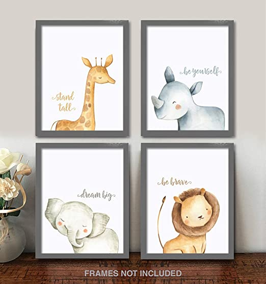 Amazon.com: Confetti Fox Safari Baby Animals Nursery Wall Art Decor - 8x10 Unframed Set of 4 Prints - Boy Girl Kids Watercolor Quotes Bedroom Bathroom ...
