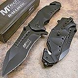 MTech USA MT-A845BK Spring Assist Folding Knife, Black Blade, Black Handle, 5-Inch Closed