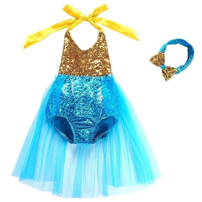 Amazon.com: Traje de baño para bebé con diseño de sirena ...