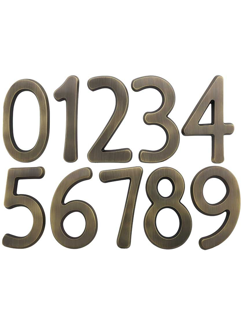 "Solid-Brass 4"" House Numbers Number 7 in Antique Brass"